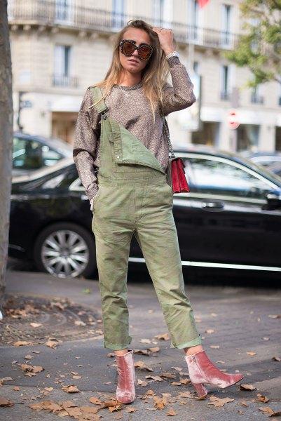 pink velvet ankle boots grey denim jumpsuit