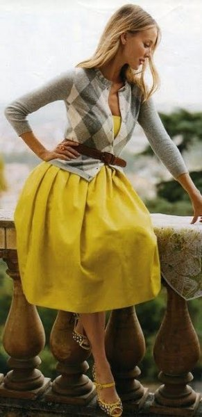 plaid belted cardigan yellow dress