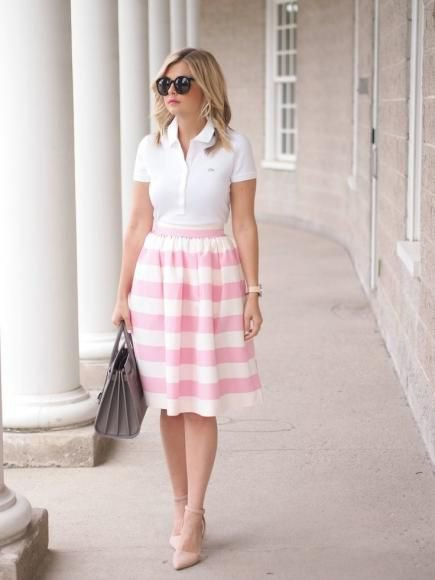 polo shirt pink striped flare skirt