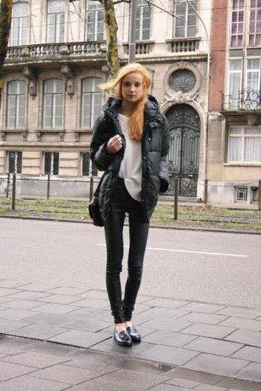 puffer jacket white sweater loafers