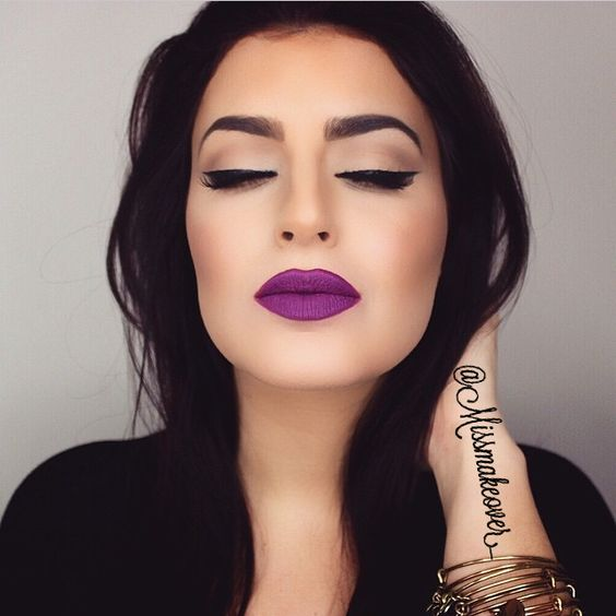 purple lipstick dark hair