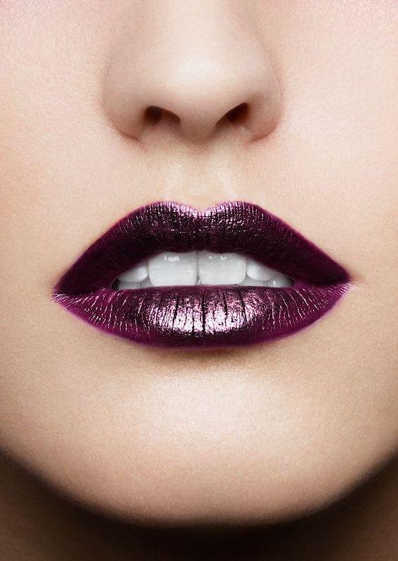 purple lipstick metallic