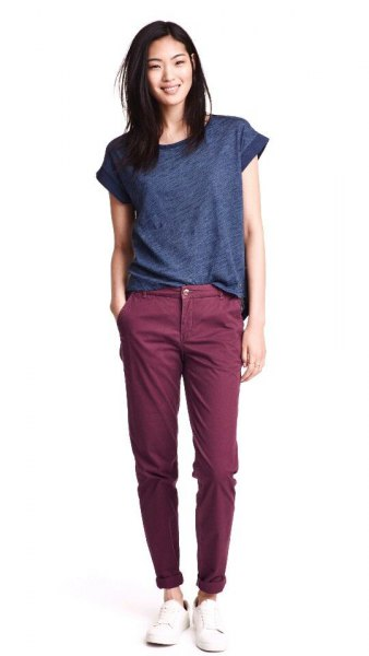 purple tee grey chinos outfit