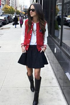 red and white baseball jacket black skater skirt