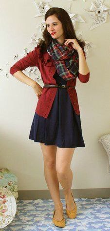 red cardigan navy fit and flare dress