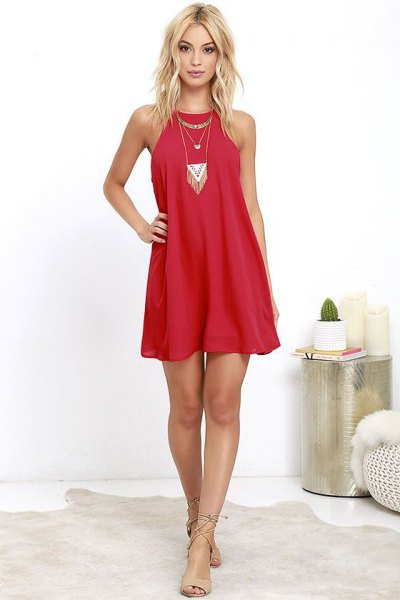 red halter dress nude heeled sandals