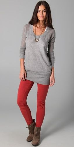 red leggings grey sweater dress