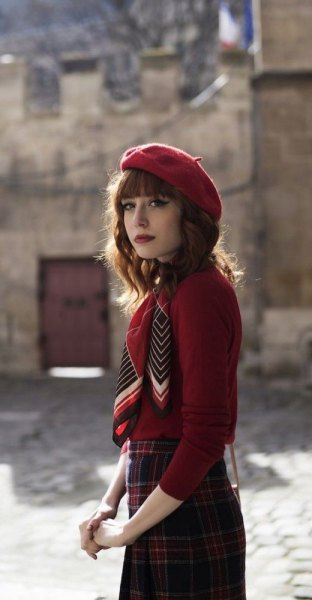 red painters hat plaid pencil skirt
