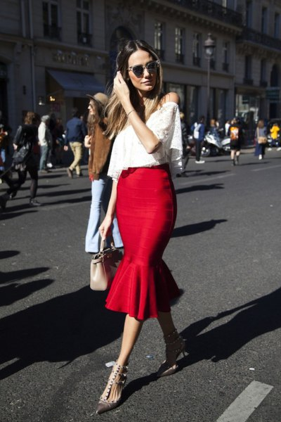 red ruffle skirt white off shoulder lace top