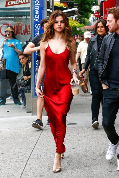 red scoop neck maxi silk dress