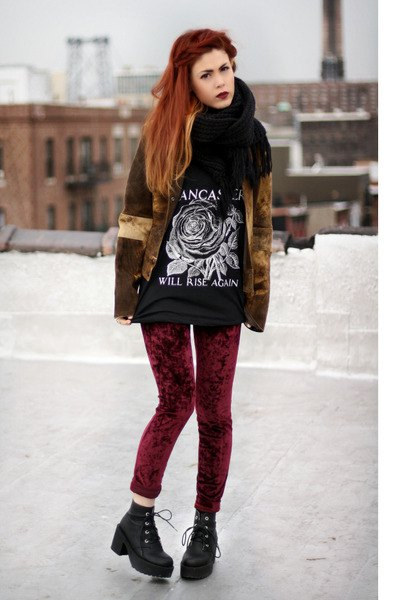 red velvet leggings matching velvet jacket