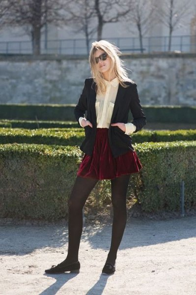 red velvet mini skirt black blazer