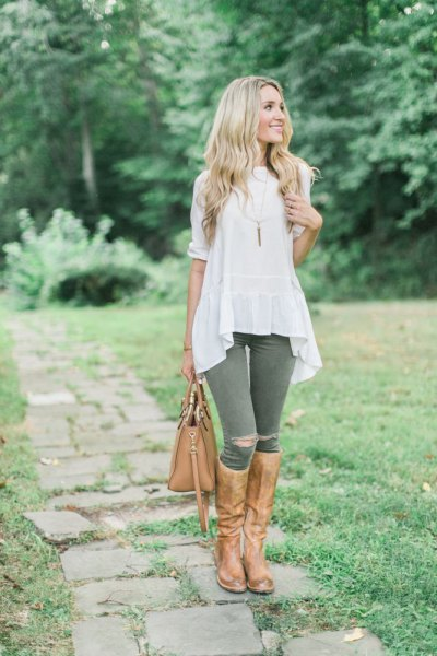 ripped riding pants white breezy top