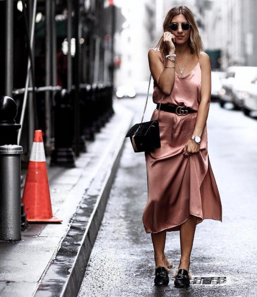 rose gold belted midi silk dress