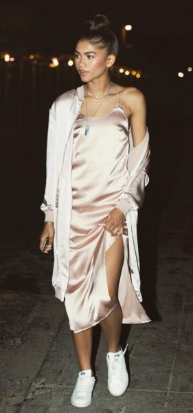 rose gold midi silk dress long cardigan
