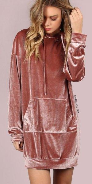 rose gold velvet hoodie dress