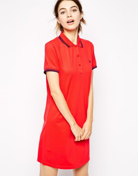 rose red polo shirt dress white converse