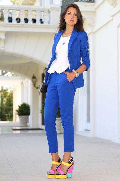 royal blue blazer and pants
