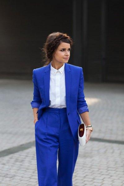 royal blue suit white button up shirt
