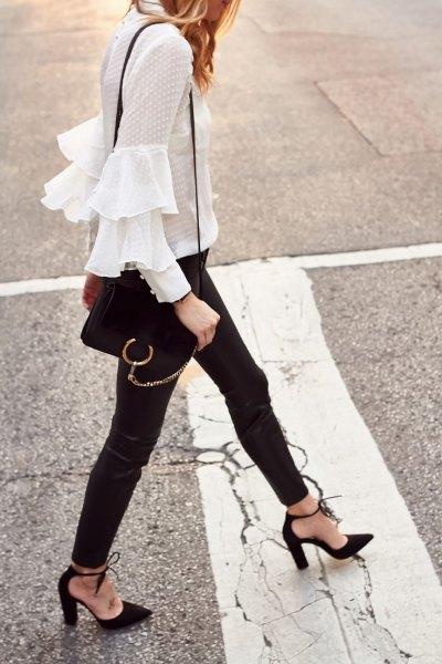 ruffle white blouse black leather pants