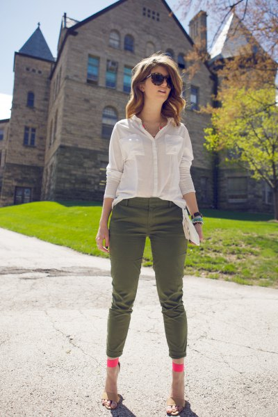 semi sheer white shirt cropped army pants
