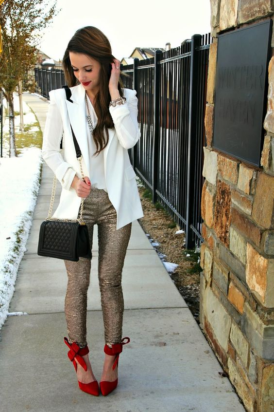 sequin leggings red shoes