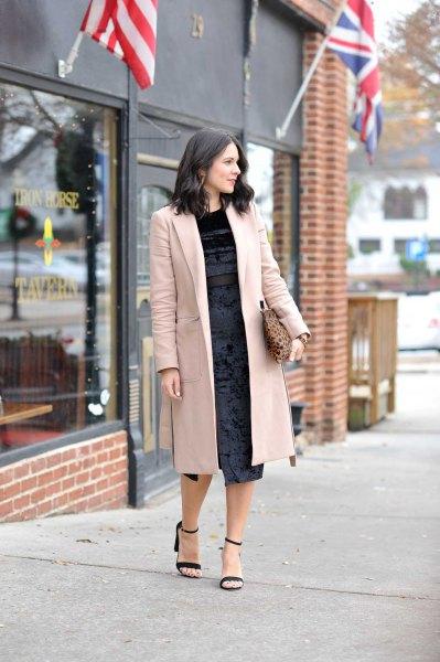 sequin midi black dress long blazer