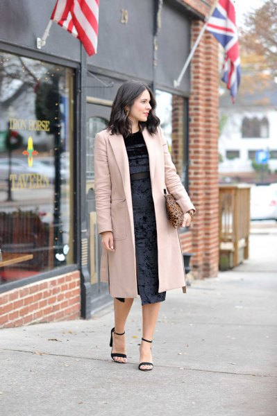 sequin midi black dress long blazer