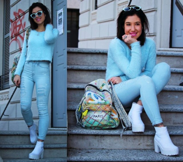 sky blue sweater jeans ankle boots