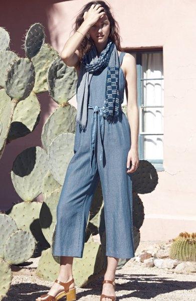 sleeveless chambray jumpsuit plaid scarf