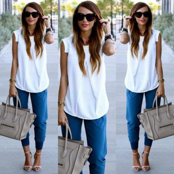 sleeveless chiffon blouse denim jogger pants