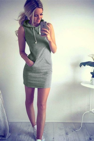 sleeveless hoodie dress with white sneakers