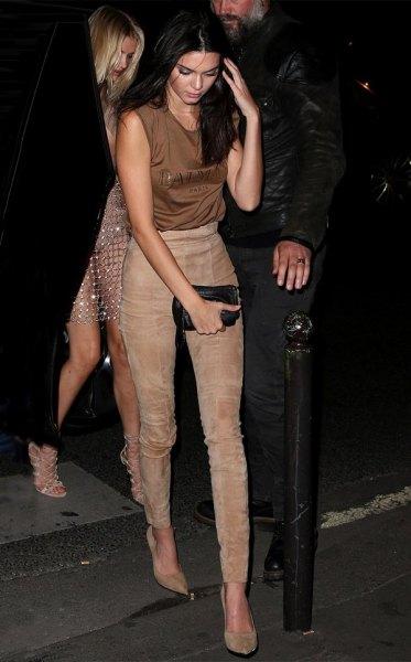 sleeveless silk top light grey suede pants