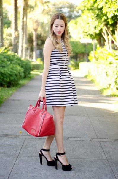 sleeveless striped dress open toe heels