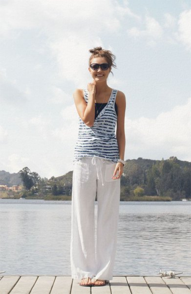 striped blue and white vest top linen pants