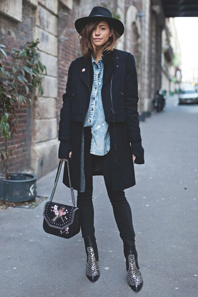 studded ankle boots black long blazer