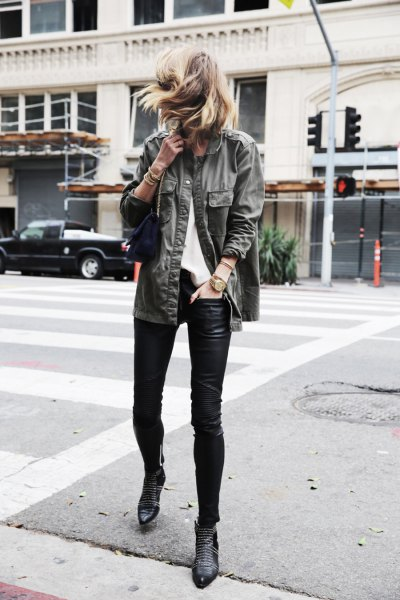studded boots grey denim boyfriend shirt