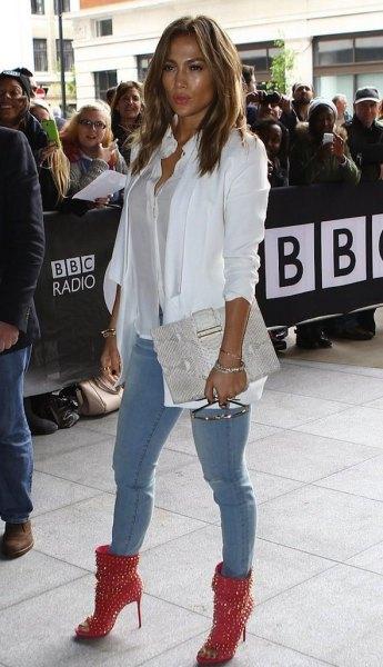 studded healed boots white blazer skinny jeans