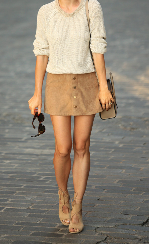 suede heels mini skirt