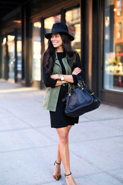 t shirt dress felt hat vest outfit