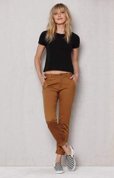 tan chinos black crop top