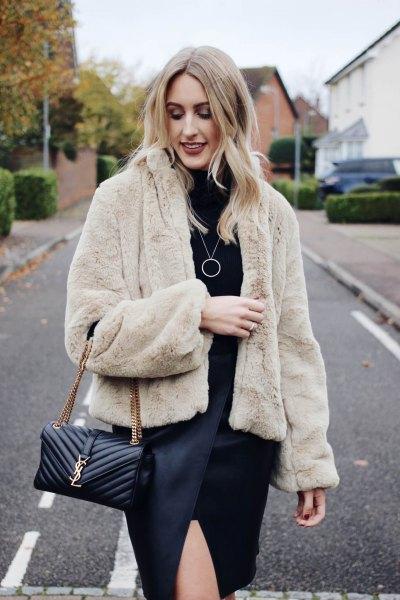 teddy coat black leather shift dress