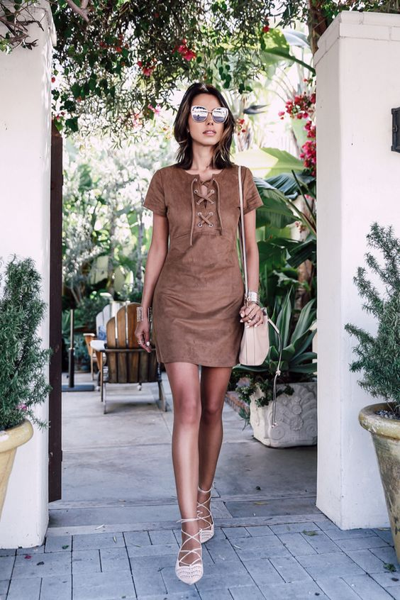 tie chest dress casual suede