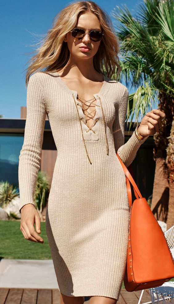 tie chest dress elegant knit