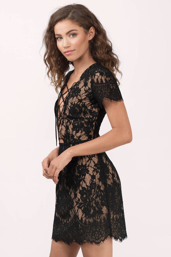 tie chest dress elegant lace