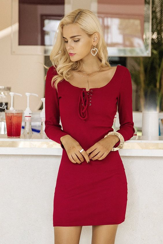 tie chest dress elegant red