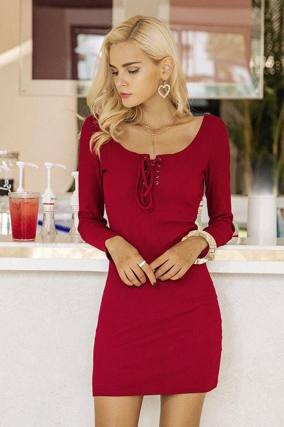 tie chest dress elegant red