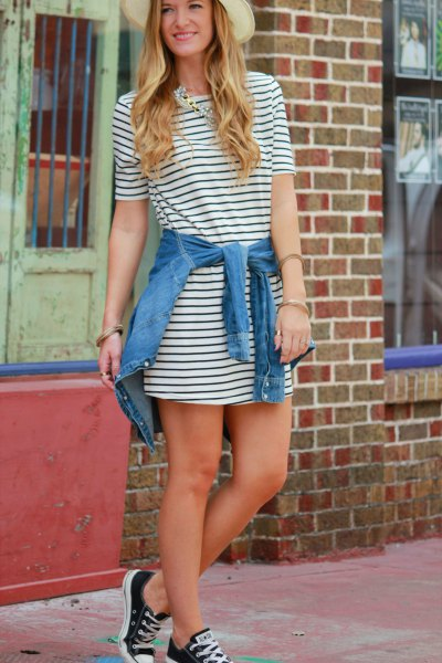 tie denim jacket around waist striped dress