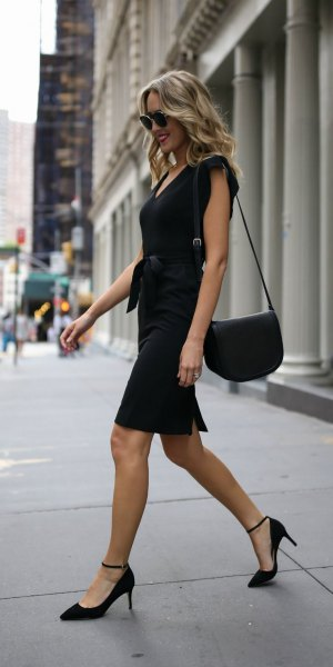 tie waist black sheath dress