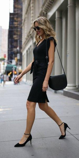 tie waist black sheath dress